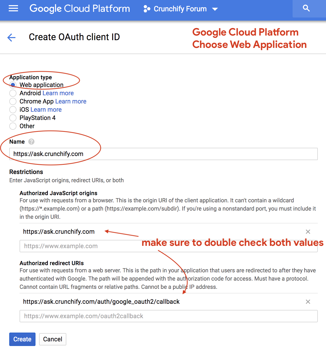 Google Cloud Platform - Choose Web Application