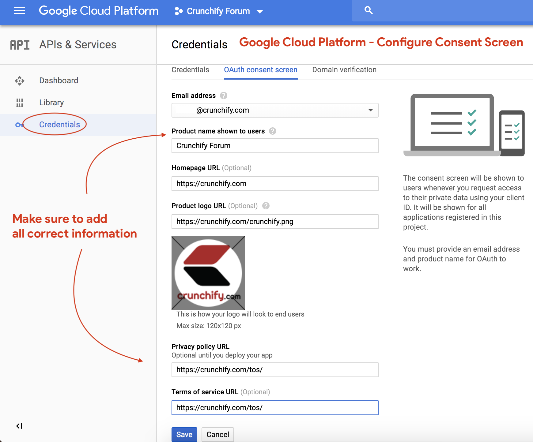 Google Cloud Platform - Configure Consent Screen