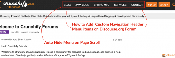 How to Add and Auto Hide Custom Navigation Header Menu items on Discourse.org Forum