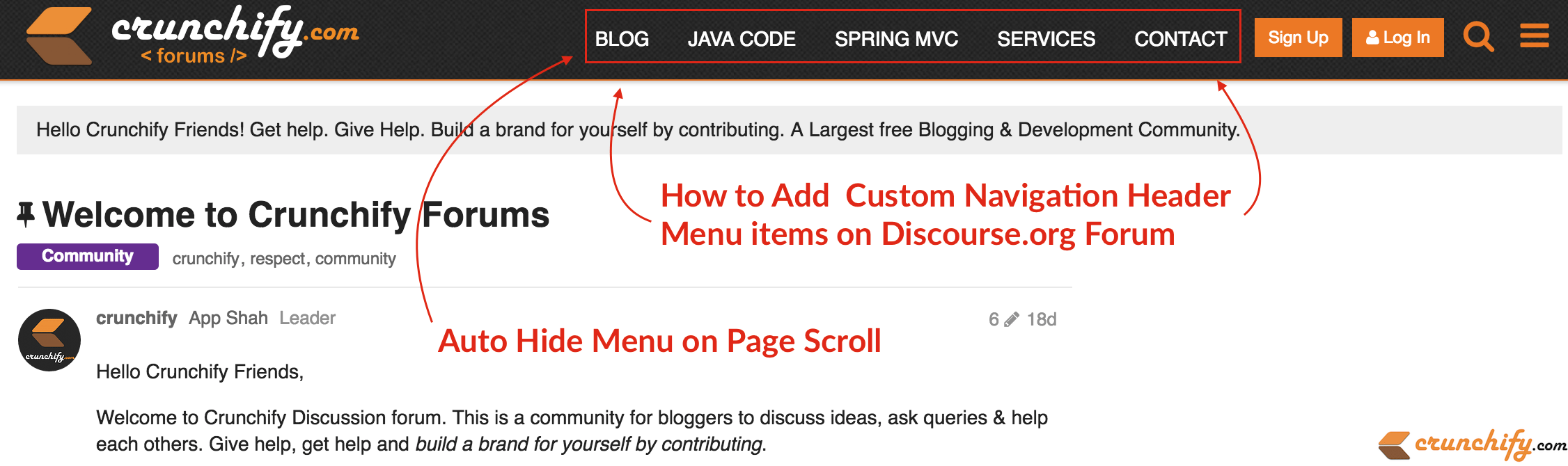 How to Add, Auto Hide Custom Navigation Header Menu items on Discourse.org Forum - Crunchify Tips