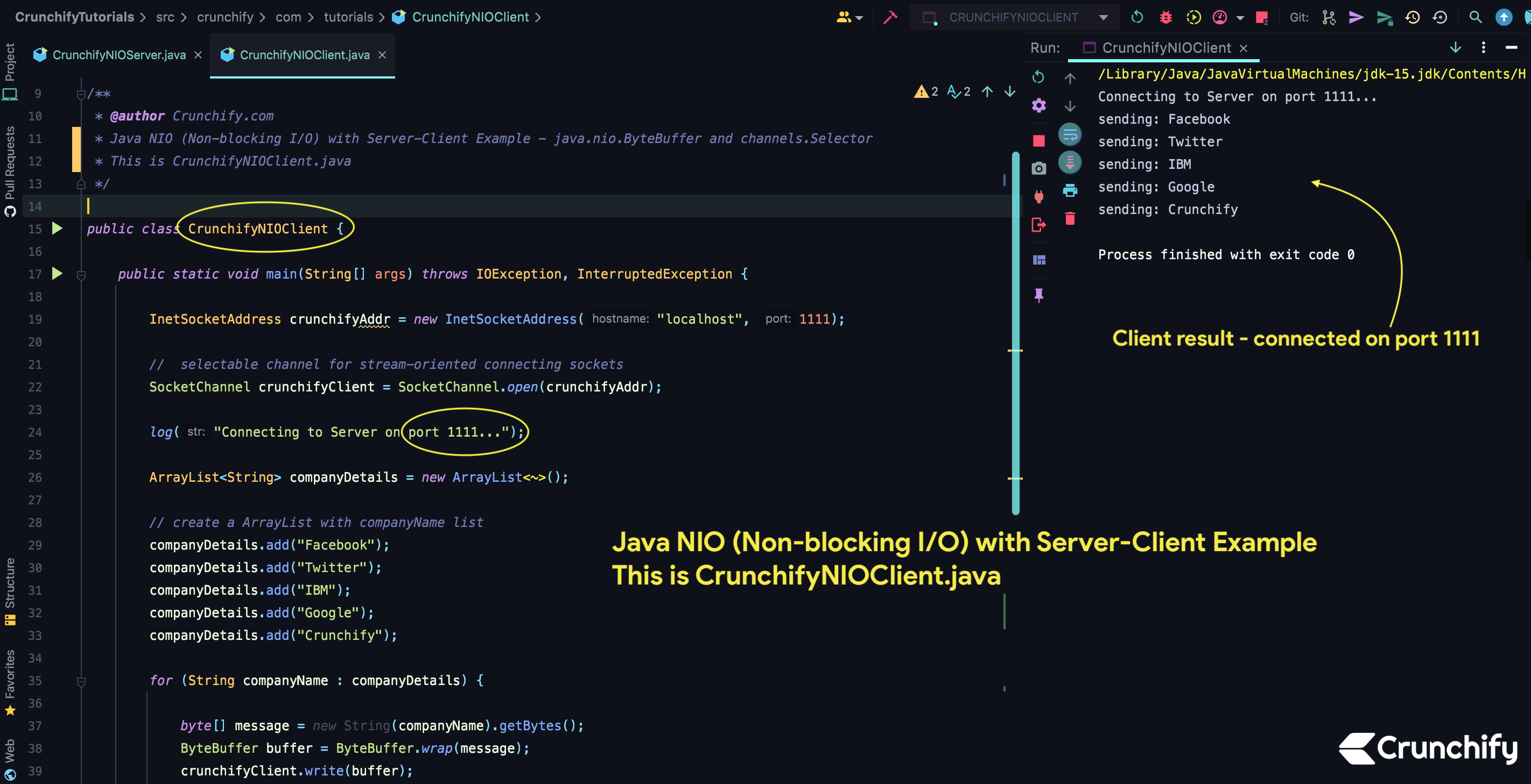 Java NIO (Non-blocking I:O) with Server-Client Example - CrunchifyNIOClient.java