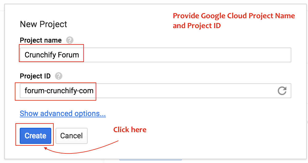 Provide Google Cloud Project Name and ID - Crunchify Tips