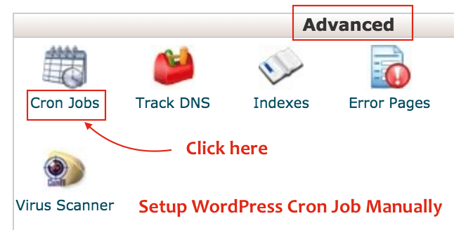 Search for Cron Jobs under cPanel Advanced Section