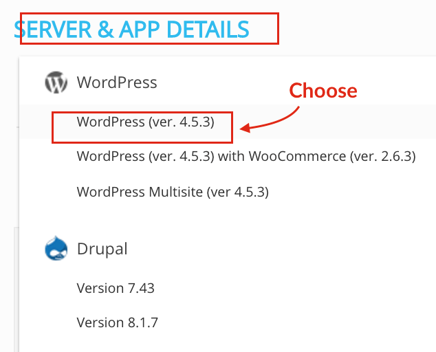 Select WordPress Installation on Cloudways