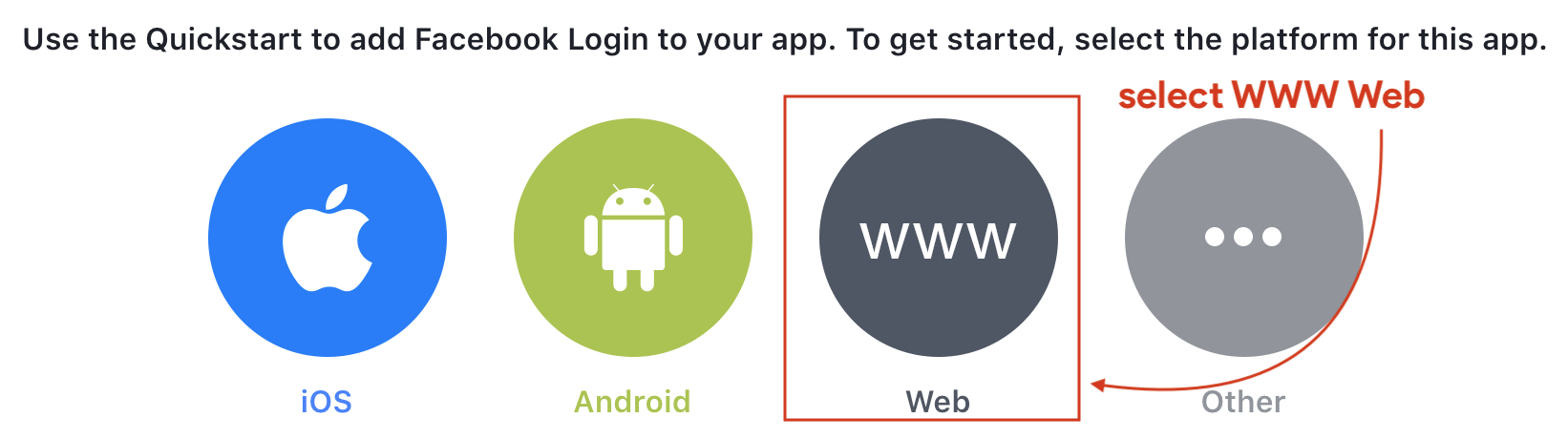 Select the platform for Facebook Login Page
