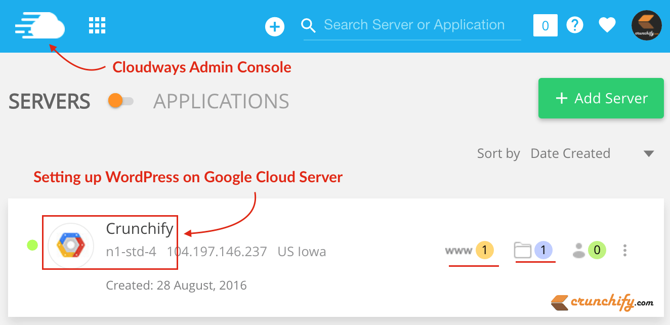 Setting up WordPress on Google Cloud Server - Crunchify Tips