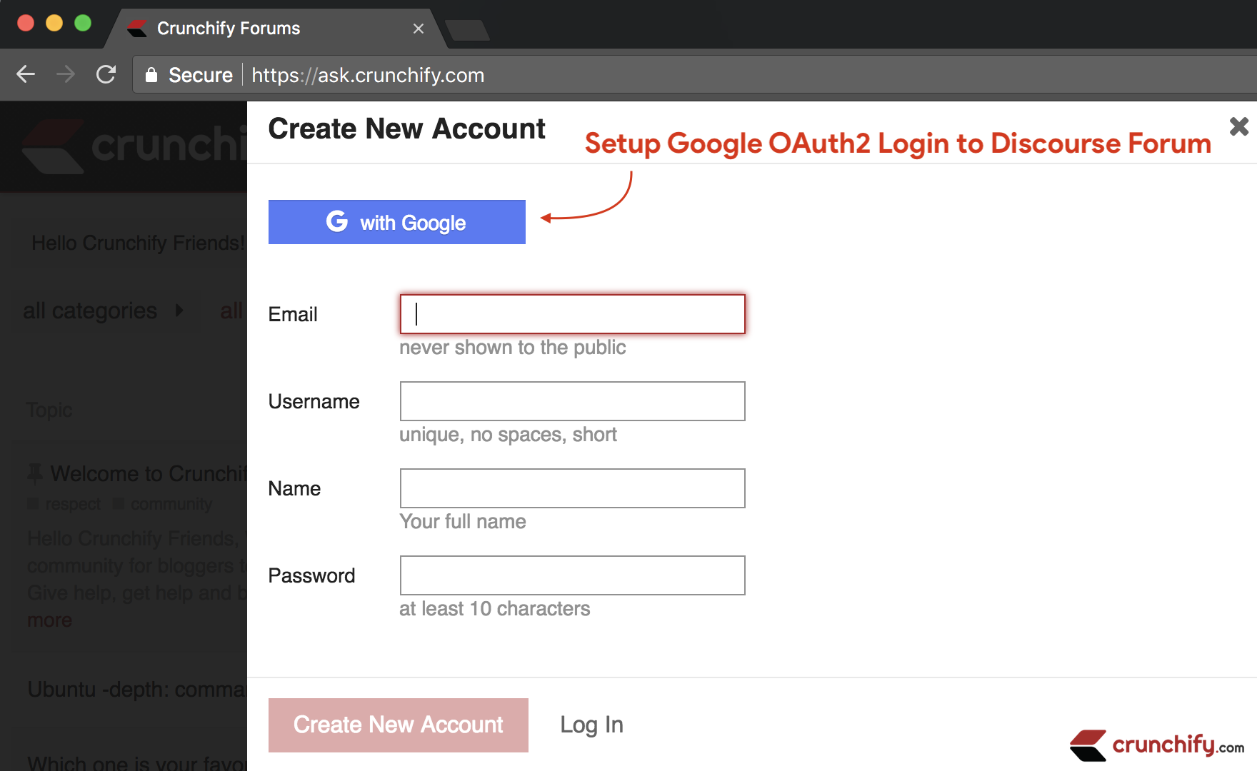 Setup Google OAuth2 Login to Discourse Forum
