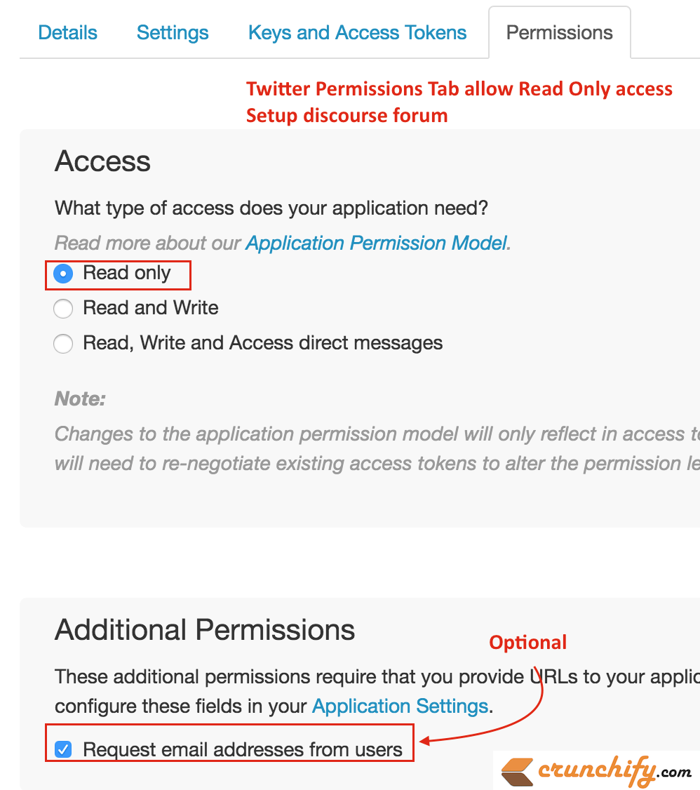 Twitter Permissions Tab and allow readonly access - setup discourse forum