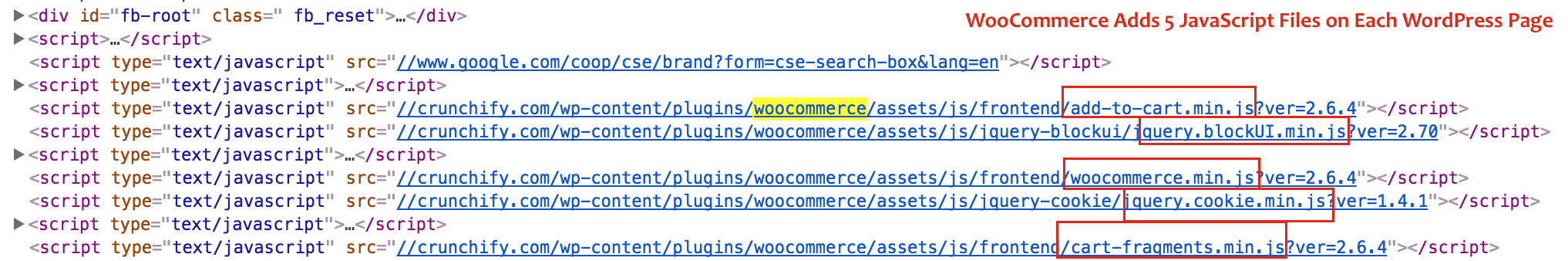 WooCommerce Adds 5 JavaScript Files on Each WordPress Page