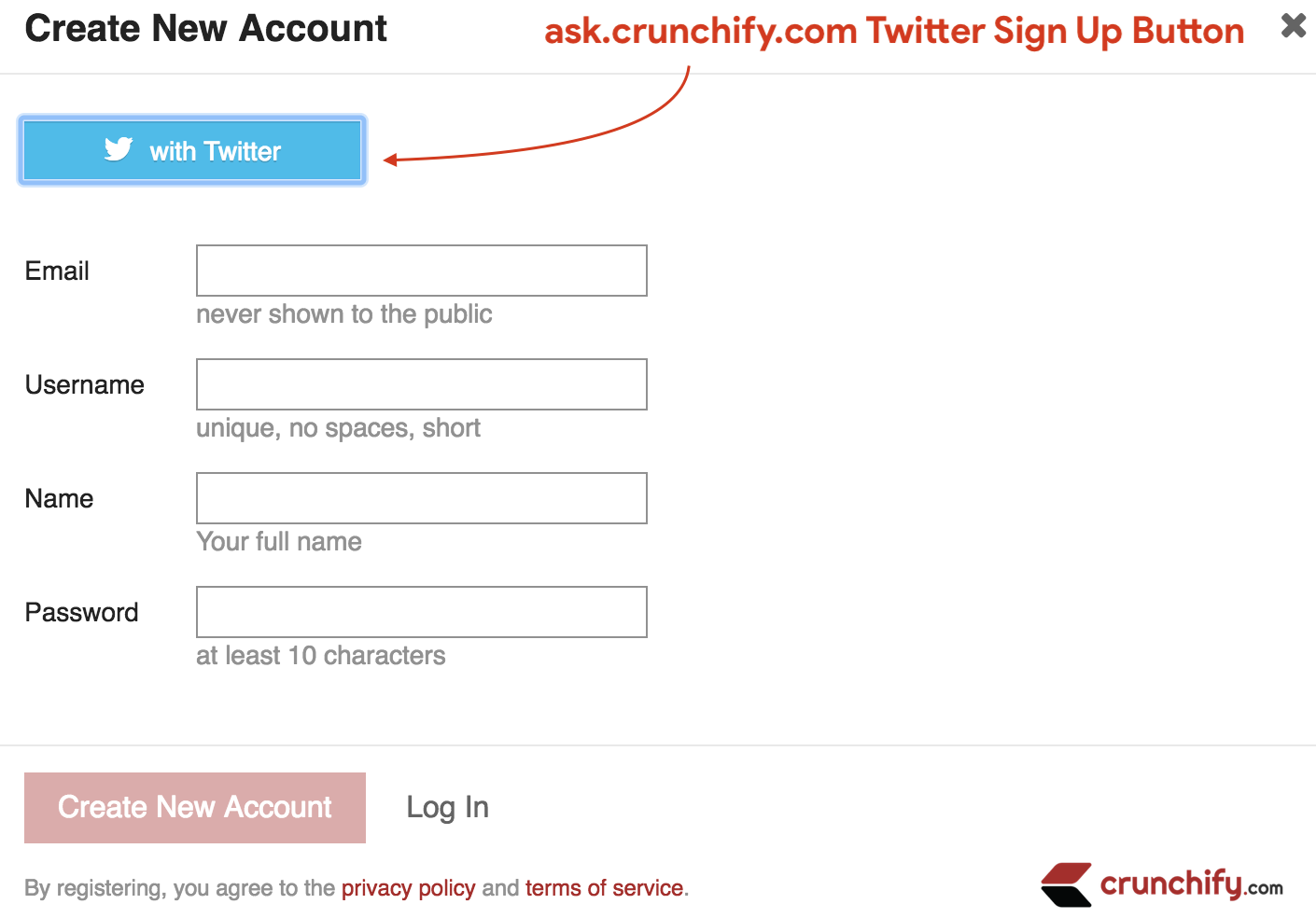 ask.crunchify.com Twitter Sign Up Button