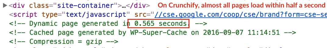 Crunchify Almost all pages load with half a second