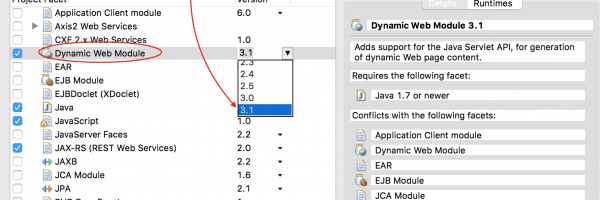 Ever wondered difference between Dynamic Web Module 3.0 and 3.1? How to Setup 3.1 Correct way in Eclipse?