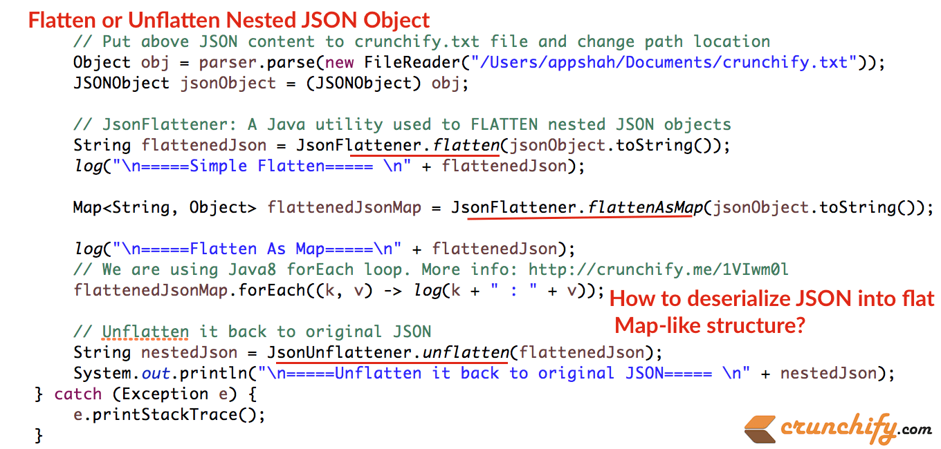 How to Flatten or Unflatten Complex JSON objects into Flat & Map-Like  Structure in Java? • Crunchify
