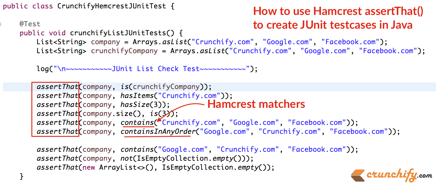 how-to-use-hamcrest-assertthat-to-create-junit-testcases-in-java