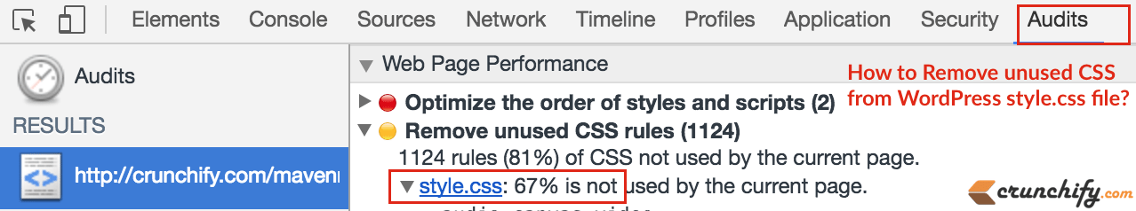How to Analyze and Remove unused CSS from WordPress style