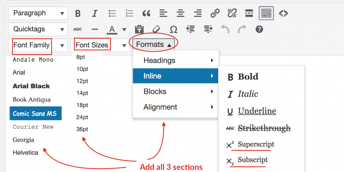 How to Show Hidden Features in WordPress Visual Editor? Font Family, Sizes, Superscript, Subscript & More