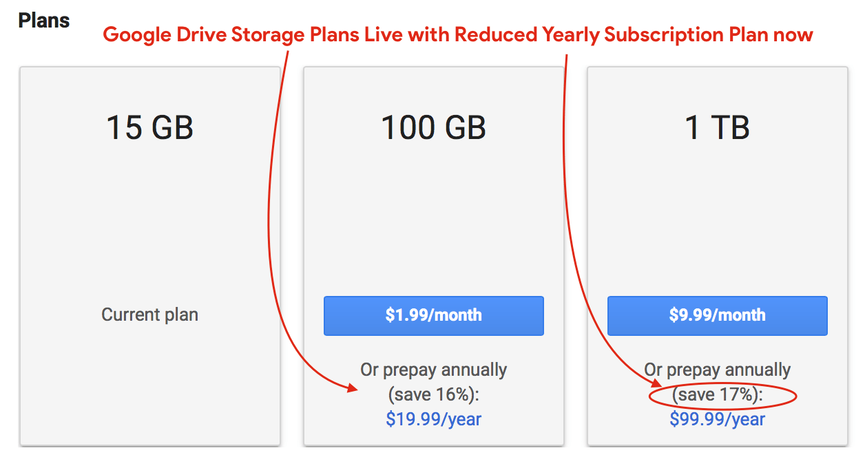 Google Deals] Google Drive Storage Plans Live with Reduced