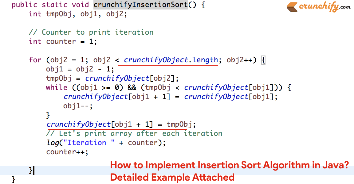 How to Implement Insertion Sort Algorithm in Java? Detailed Example Attached