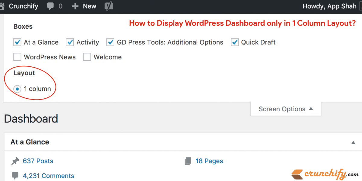How to Display WordPress Dashboard only in Single Column Layout?