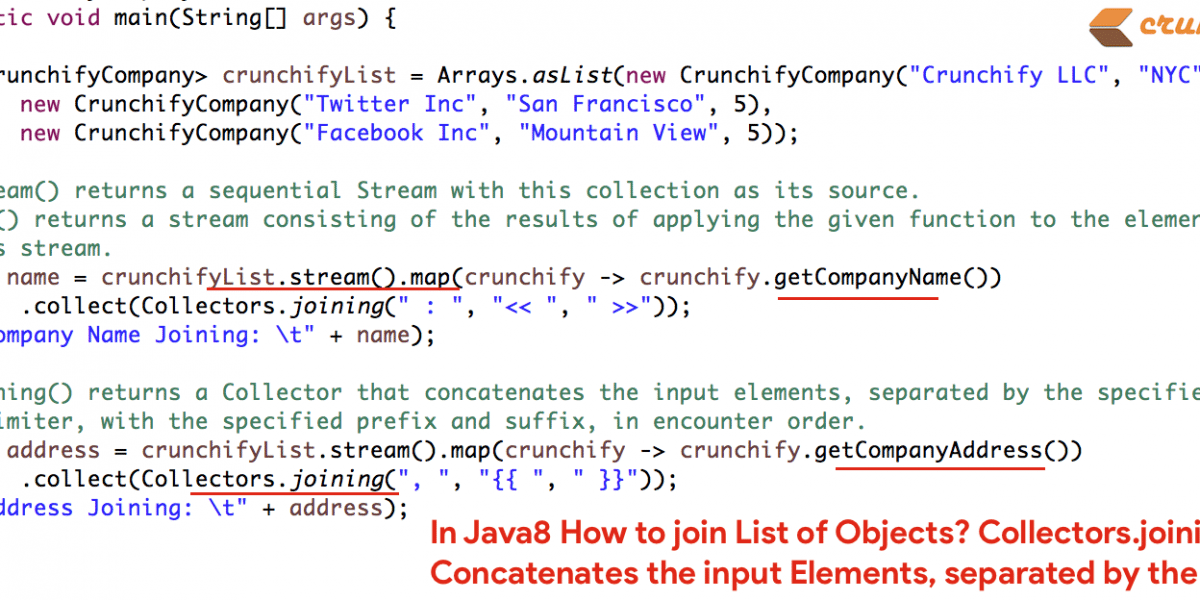 In Java8 How to join List of Objects? Collectors.joining Concatenates the input Elements, separated by the Delimiter