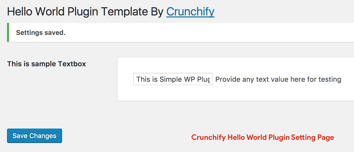 Crunchify Hello World Plugin Setting Page