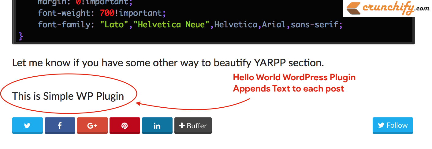 Hello World Plugin appends text to each post