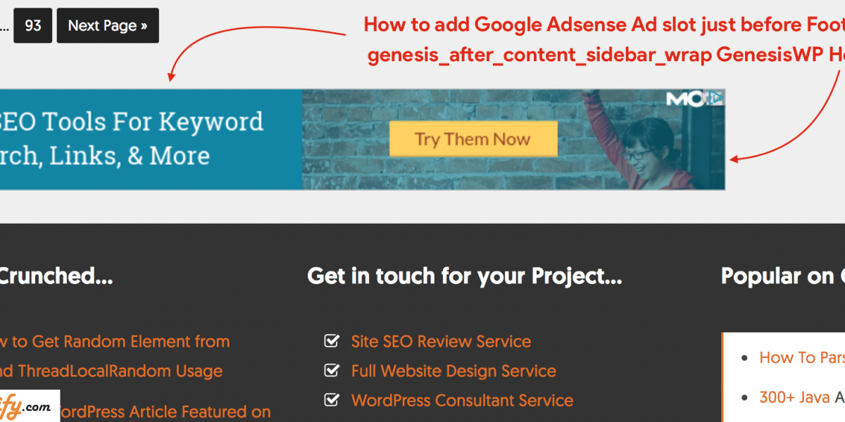 WordPress Genesis Framework genesis_after_content_sidebar_wrap Hook – How to Add Google Adsense Adslot
