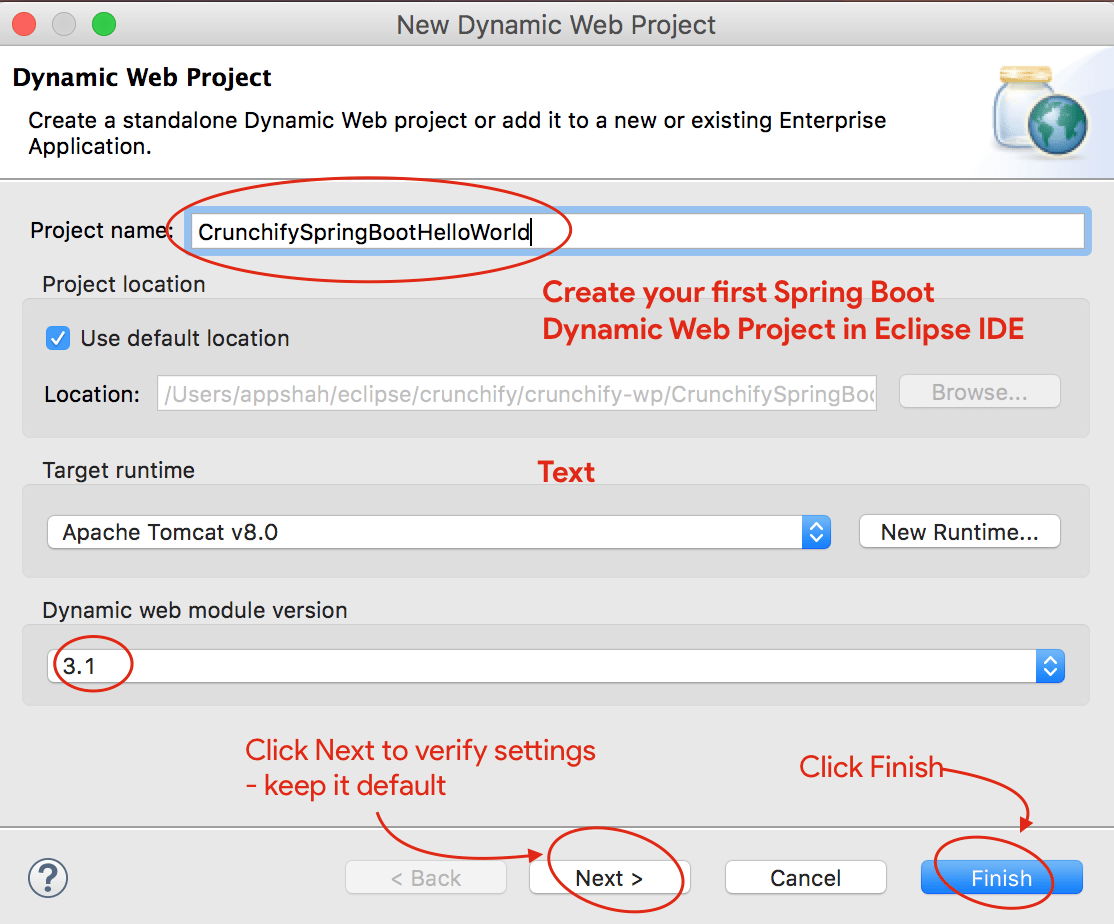 Java spring boot tutorial live hello world web application example make sure you have dynamic web module version to 31 and target runtime apache tomcat 8 baditri Image collections