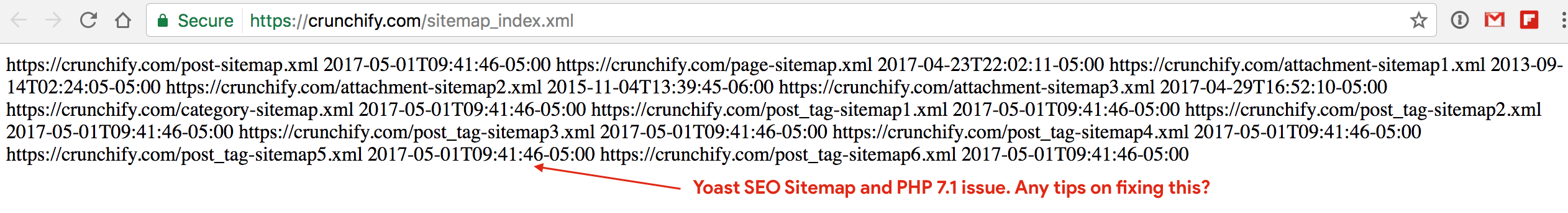 Yoast SEO Sitemap xml and PHP 7 2 namespace Rendering Error