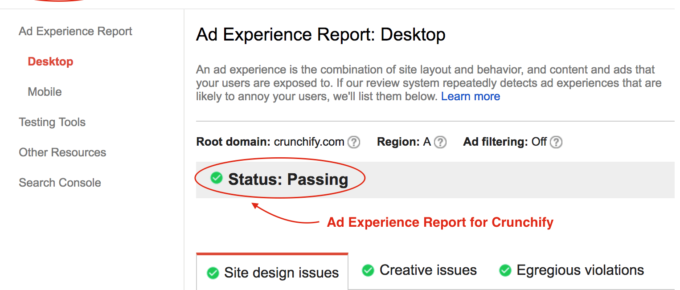 Ad Experience Report for Crunchify - Status-passing
