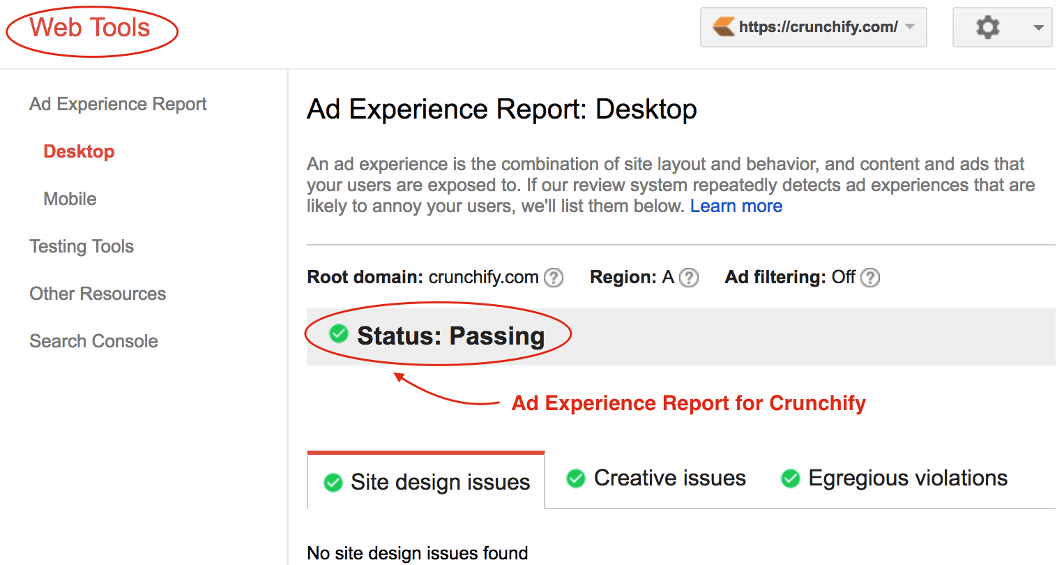 Web Tools] Ad Experience Report by Google under Webmaster