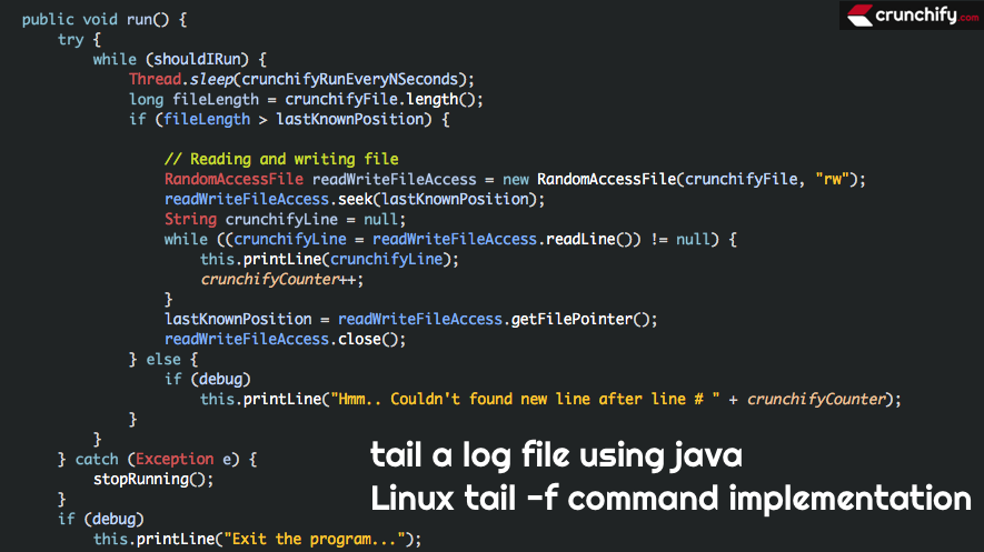 Linux tail f command implementation - tail a log file using java