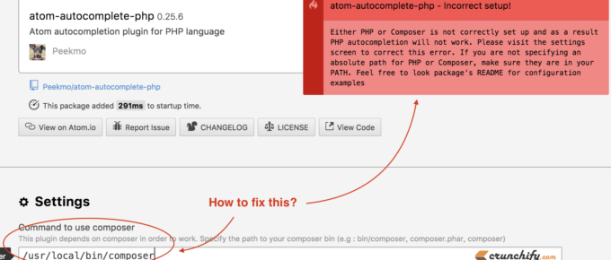 atom-autocomplete-php Incomplete Error because of missing composer.phar