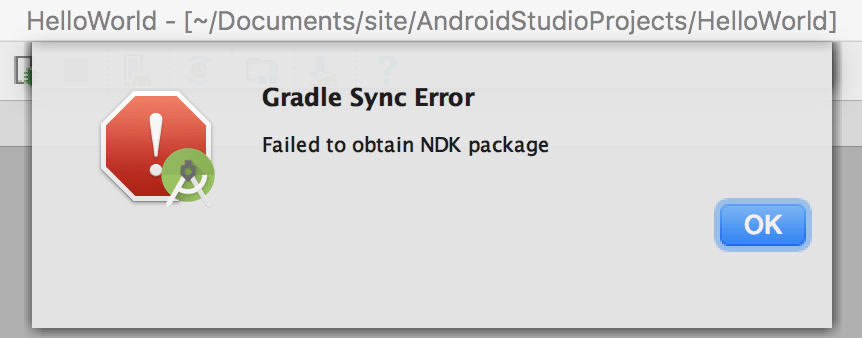 How to fix Gradle sync failed, NDK not configured Error in