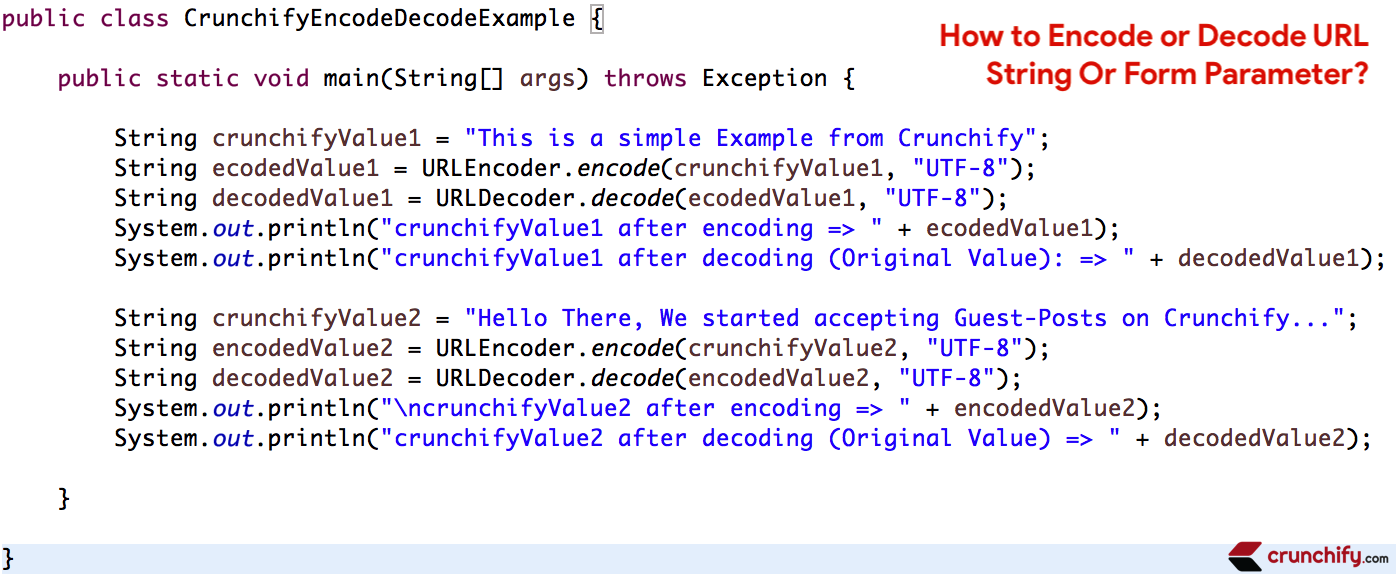 Java: How to Encode or Decode URL String Or Form Parameter • Crunchify