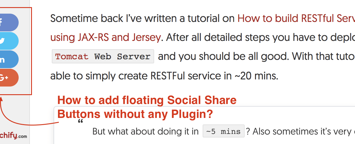 How to add Floating Social Sharing Buttons without any WordPress Plugin?