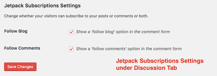 Jetpack Subscriptions Settings under Discussion Tab
