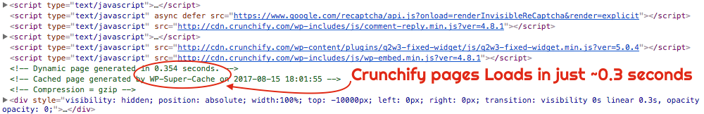 Crunchify.com Site Loads in just 0.3 seconds