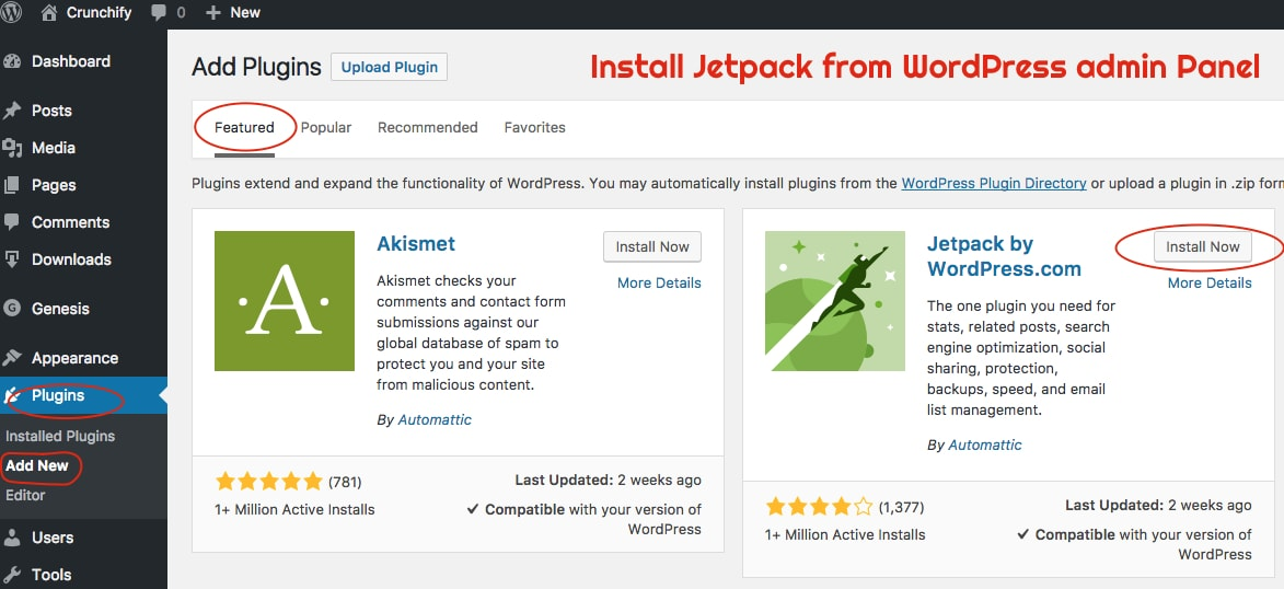 Install Jetpack from WordPress admin Panel - Crunchify Tips