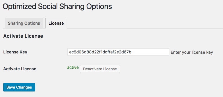 Optimized Social Sharing - License Key Activation
