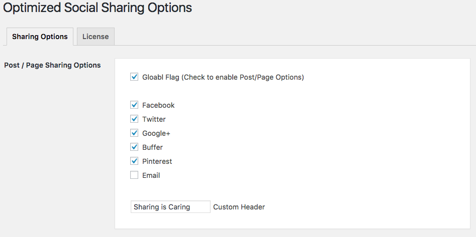 Optimized Social Sharing Post page options