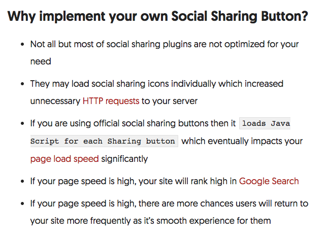 Why implement your own Social Sharing Button?