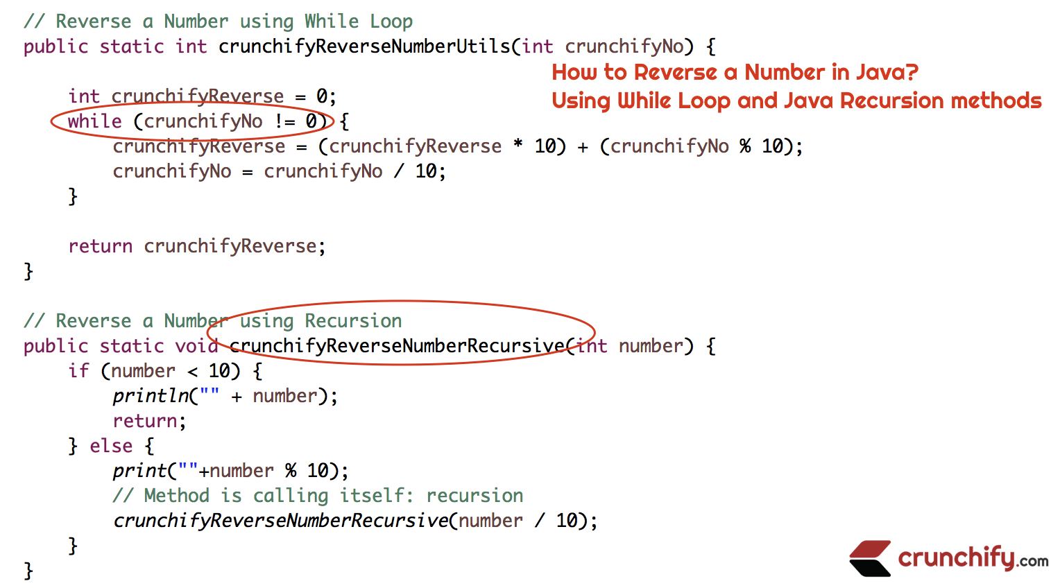 How to Reverse a Number in Java? Using While Loop and Java