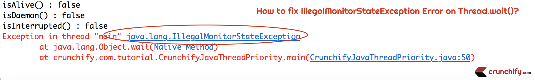 How to fix IllegalMonitorStateException Error on Thread.wait()