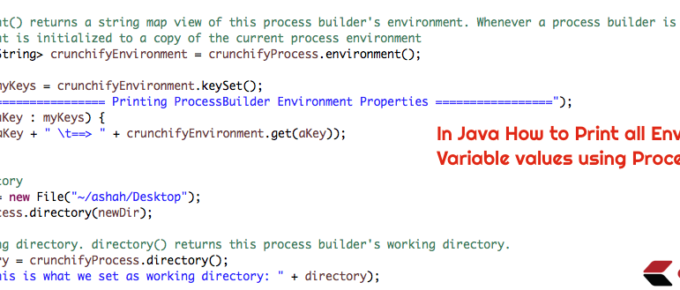 Java Print all Environment Variable values using ProcessBuilder