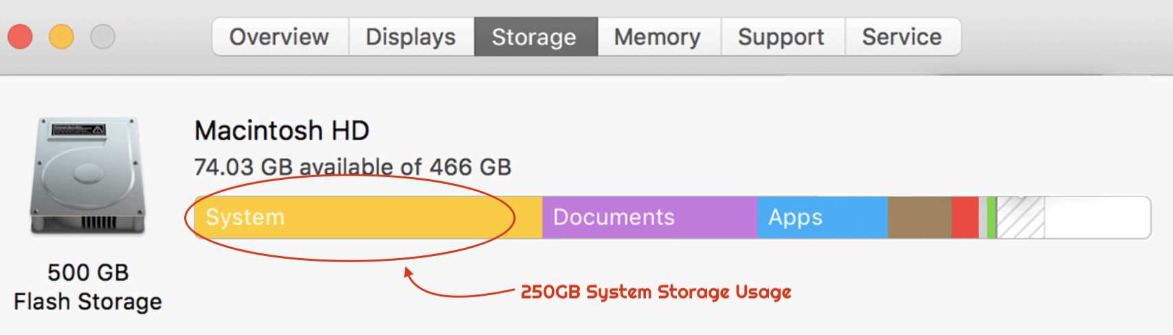 Mac OS High Sierra System Storage Issue