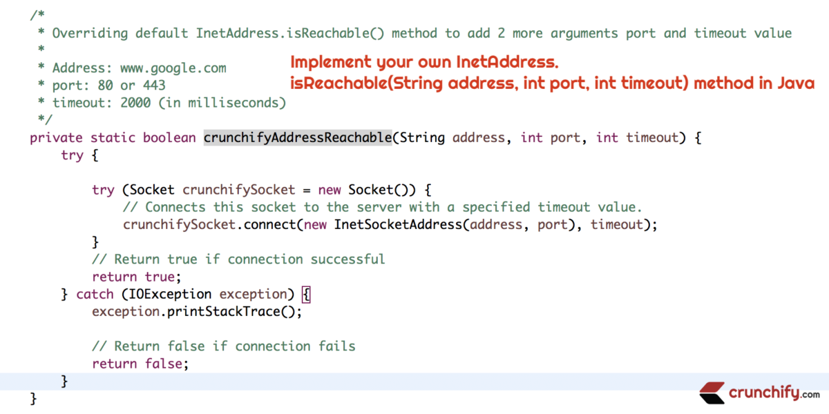 How to Implement your own InetAddress.isReachable(String address, int port, int timeout) method in Java?