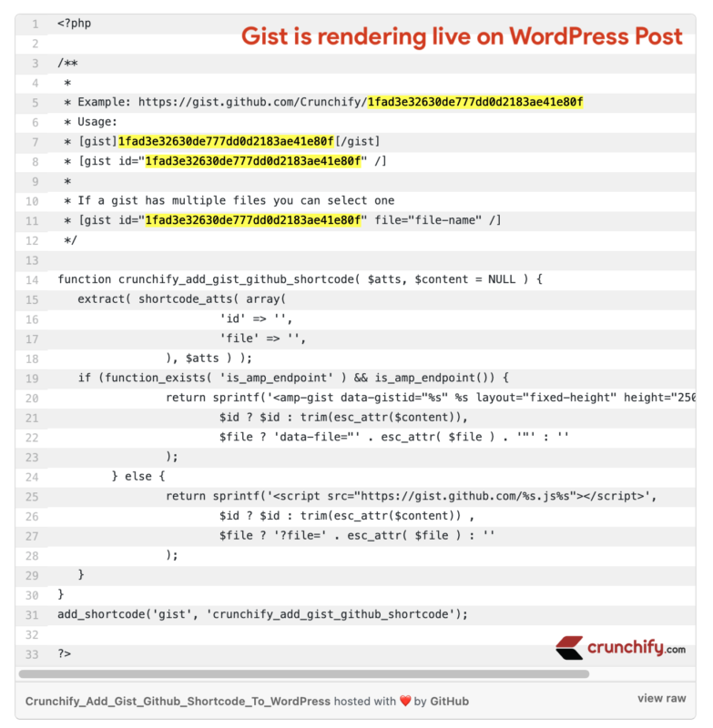 Gist is rendering live on WordPress Post - Crunchify Tips