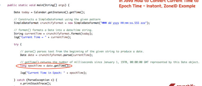 In Java How to Convert Current Time to Epoch Time