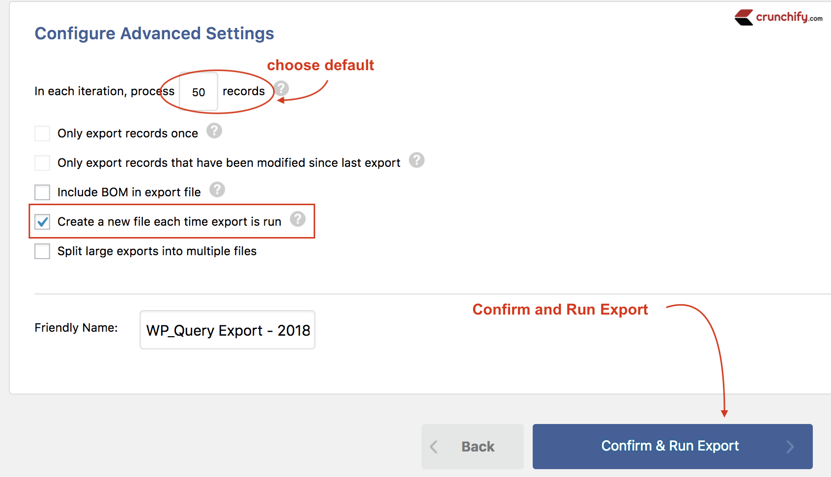 Confirm and Run Export - Crunchify Tips